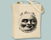 "Vintage Moon ""I Love You To The Moon"" CanvasTote  --  Selection of sizes, ANY IMAGE COLOR available"