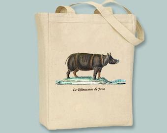 Le Rhinoceros De Java, Java Rhino, Vintage Illustration Canvas Tote - Selection of sizes available