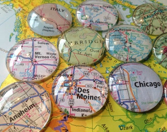 "Large Glass Strong Fridge Magnets 1.1/4"" World Maps (set of 12 large glass cabochons)"