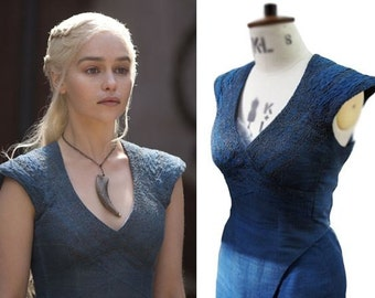 Ready to ship!! SMALL Khaleesi game of thrones Cosplay Dress, Daenerys Blue Dress, Game of Thrones costume size small