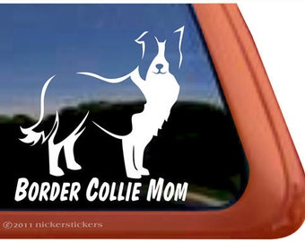 Border Collie Mom | DC470MOM | High Quality Adhesive Vinyl Border Collie Window Decal Sticker