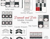 Wedding Shower Printable Party Package, Bridal Shower Decor, Damask and Dots, Black and White, Red Accent - Editable, Instant Download