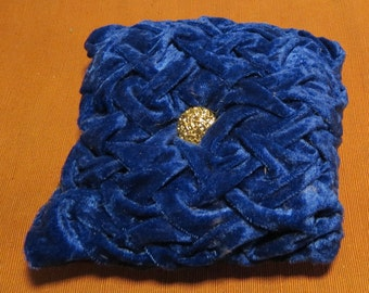 Small Blue Smocked Pillow