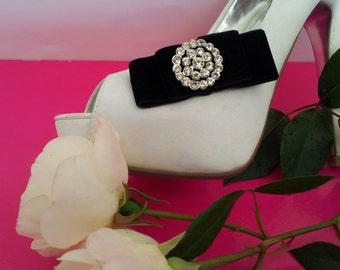 Shoe Clips - Black Velvet Dior Bows with Diamente Circle FREE SHIPPING