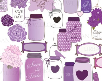 MASON JARS in Plum - 37 piece clip art set in high resolution, Png & Illustrator (vector) files.