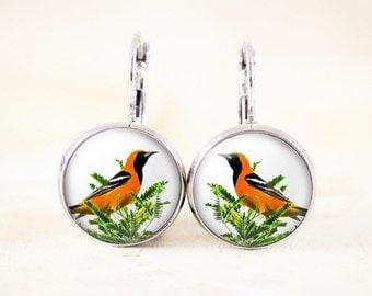 Oriole Bird Earrings - Songbird Earrings, Orange Bird Jewelry, Silver Bird Earrings, Nature Jewelry, Silver Drop Earrings, Forest Earrings