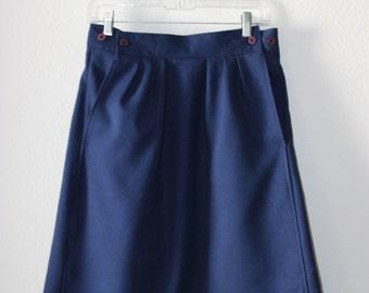 Vintage 60s Navy Blue Skirt medium polyester button side pockets mad men