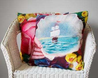 Nautical pillow Decorative throw pillow Victorian Ship Cushion Ship pillow Flower Cushion Floral pillow Shell Sailing ship 17x17 Rose Sea