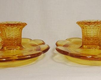 Kemple Glass Amber Honey Depression Glass Narcissus Candlesticks