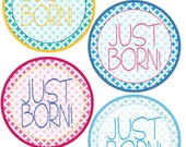 ADD ON Just Born Stickers for Baby, Just Born Stickers  - Quatrefoil - Just Born Stickers -Baby Shower Gift - Baby