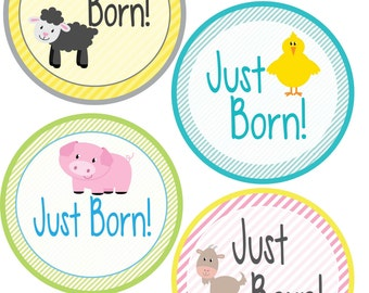ADD ON Just Born Stickers for Baby, Just Born Stickers  - Farm Animals - Just Born Stickers -Baby Shower Gift - Baby
