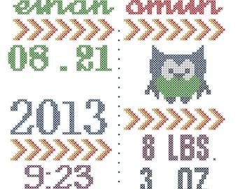 Owl Birth Record Cross Stitch Pattern, Modern Baby Cross Stitch Pattern, Cross Stitch Baby Pattern, Modern Nursery Cross Stitch