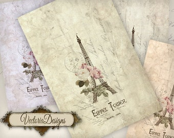 Paris Card 6.67 x 4.33 inch printable card instant download digital collage sheet VD0701