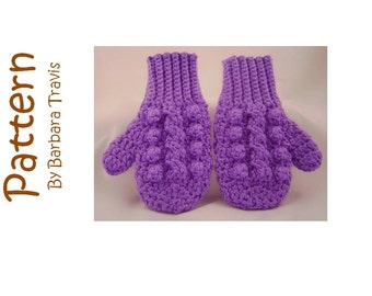 Crochet Pattern Child's Cable Mitten 3 sizes Small, Medium, Large