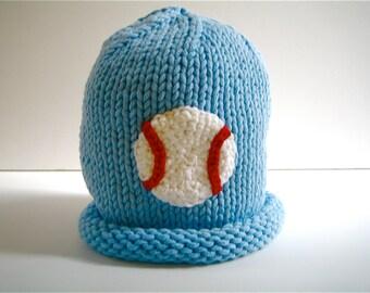 Boys BASEBALL Hat - toddler boy hat - child's knit - Carolina blue hat - kid's winter hat - child's beanie hat - baseball beanie hat