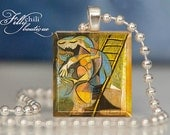 """Picasso: """"Woman With Pigeons"""" - A jewelry pendant charm made from a Scrabble Game Tile game piece with 18"""" Ball Chain Necklace"""