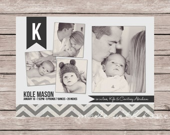 Gray Chevron-A Simple and Stylish Custom Photo Birth Announcement for Baby Boy or Girl