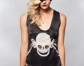 Silk Camisole Lingerie Tank Top Lace / Skull Black White Sheer Bow - DECO SKULL CAMISOLE Made-to-Order