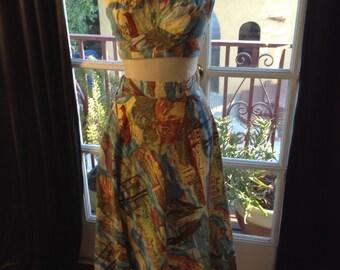 Photo Print Hawaiian Halter Suntop and Wrap Skirt Set Suit
