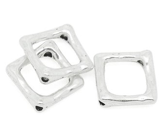 15 Silver Tone Metal Textured Square Spacer Bead Frames  16mm bme0126