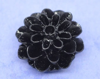10 Resin Flower Cabochons, Chrysanthemum Mum . JET BLACK  .  16mm cab0117