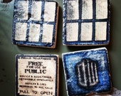 CLEARANCE Dr.Who T.A.R.D.I.S. Fridge Magnets 2x2 Tumbled Marble Tile Magnet Set of 4 LAST ONE