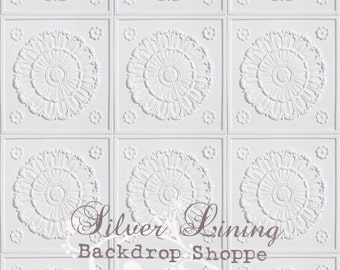 4'x4' Photography Backdrop Antique TILES - Lilly LIGHTEST