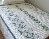 EVERGREEN vintage chenille handmade throw quilt, 44 X 60 inches, green minky blanket, green chenille bed quilt, white chenille