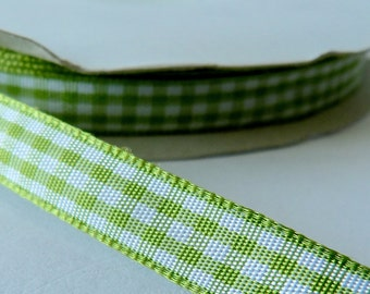 Green 9mm Gingham Ribbon