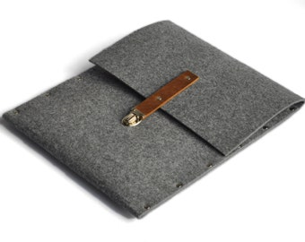 MacBook Air 13 inch Sleeve, Case, Cover, Grey Synthetic Felt Brown With Leather Strap