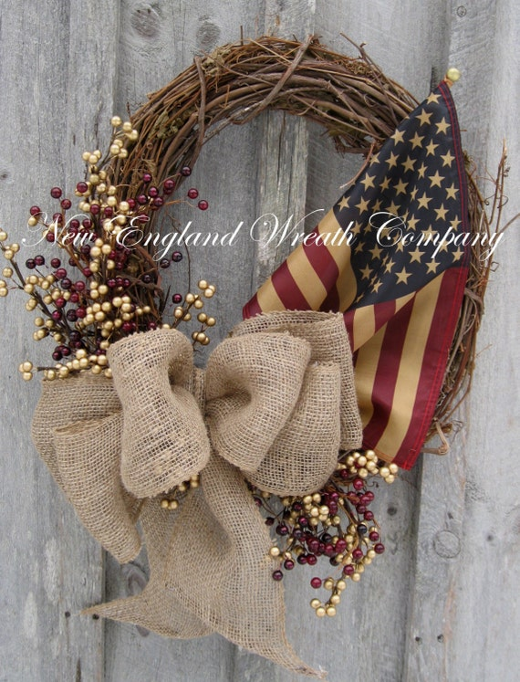 Americana Wreath Patriotic Wreath Fourth Of July Rustic
