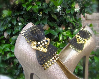 Wedding Shoe Clips black and gold retro bow
