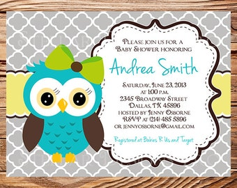 Owl Baby Shower Invitation, Quatrefoil, Baby Shower Invite, Boy, Girl, Blue, Blue, Pink, Chevron Stripes, Yellow, Green, Yellow, 1452