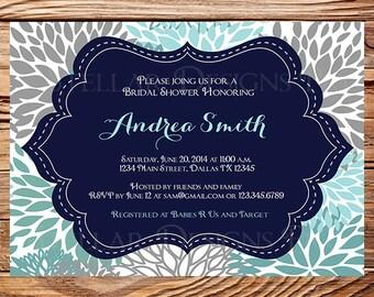 Bridal shower Invitation,Floral Wedding Shower Invitation,Pink, Blue, Gray Flower Invite, digital, printable file, 5074