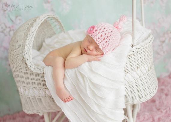 Newborn Pink Hat, Hat With Button, Newborn Photo Prop, Newborn Girl Prop, Crochet Baby Hat, Knot Hat, Baby Girl Pink Hat, Infant Crochet Hat