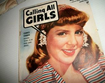 Calling All Girls magazine June 1944, vintage teen girls magazine