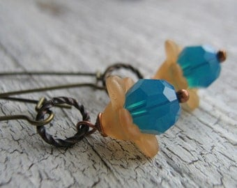 15% off any order Blue Lucite flowers and Brass Earrings