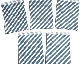 12 Dark Blue Diagonal Stripe Favor Treat Loot Goody Bags Birthday Party Decoration Food Bag