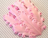 Curly Feather Pad - Two Tone Light Pink  on Pink  FP112 - (1 piece)