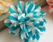 Set of 2 Vintage Blue Stripe flower 4.5'' large silk Aqua Blue & White stripe fabric flower - flat back Dahlia - headband flowers wholesale
