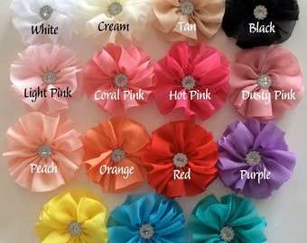 "Mini Chiffon Flowers - 2"" Ballerina Blossoms with Rhinestone Button centers YOU PICK COLORS - 4 pieces - Small Hair Flowers Headband flowers"