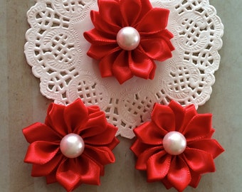 "Small Red Fabric Flowers ( 6 pcs)  - 1.5"" Satin ribbon flowers with pearl centers embellishment Sweetheart accent flowers applique flowers"