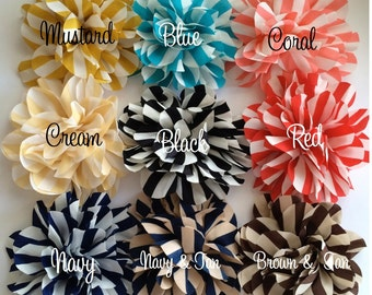 Vintage Stripe flowers - 4.5'' large silk stripe fabric flowers YOU PICK COLORS  flat back Dahlia headband flowers wholesale