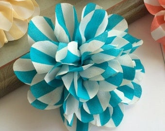 Set of 2 Vintage Blue Stripe flower 4.5'' large silk Aqua Blue & White stripe fabric flower - flat back Dahlia - headband flowers wholesale