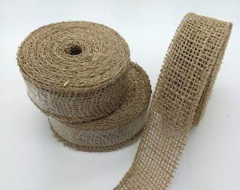 "1.5""  burlap ribbon  Natural burlap jute wide trim 10 yard roll High Quality rustic weave Jute 1 1/2 inch faux trim -no fray edges JRH015-12"