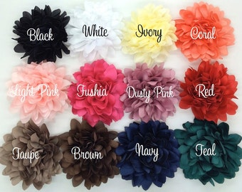 Silk Fabric flower 4'' large fabric flower YOU PICK COLORS  flat back Dahlia Silk Flower coral corsage flowers wedding hair headband flowers