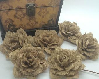 "Natural Burlap rose buds burlap flowers rustic vintage wedding decorations  wreath corsage table decor( 3 pcs)-CHOOSE SIZE - 3"" , 3.5"" OR 4"""
