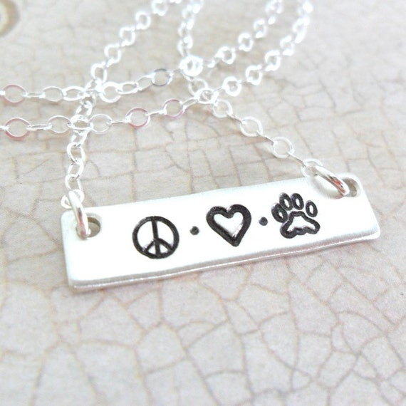 Pet Necklace - Peace Sign - Heart - Paw Print - Bar Necklace - Sterling Silver Bar - Pet Mom - Pet Love - Dog Jewelry - Cat Jewelry