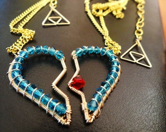 His and Hers or Best Friends L.O.Z. Heart Piece Necklaces with Triforce