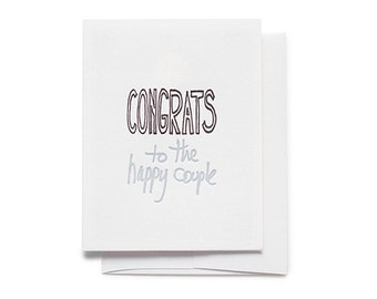 Congrats to The Happy Couple Funny Letterpress Greeting Card